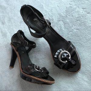 Celine Vintage Patent Leather Buckle Kiltie Heel